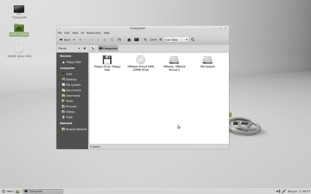 Default desktop with window