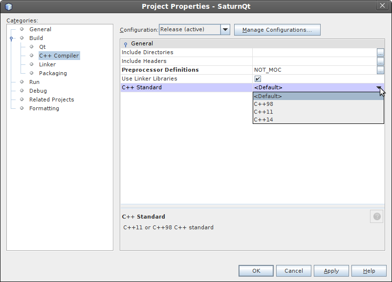 Setting C++ standard to default